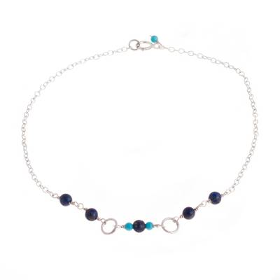 Lapis Lazuli and Recon. Turquoise Anklet from Peru
