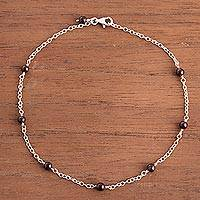 Garnet anklet, 'Natural Orbs' - Garnet and Sterling Silver Station Anklet from Peru