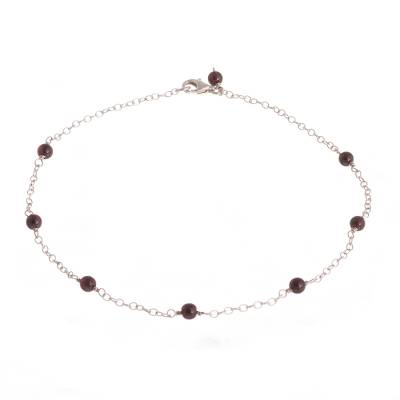 Garnet and Sterling Silver Station Anklet from Peru