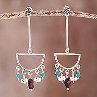 Multi-gemstone chandelier earrings, 'Glorious Half-Circles' - Half-Circle Multi-Gemstone Chandelier Earrings from Peru