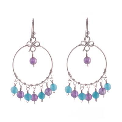 Amethyst and Agate Beaded Chandelier Earrings from Peru