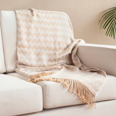 Alpaca blend throw, 'Caramel Field' - Zigzag Pattern Alpaca Blend Throw in Caramel from Peru