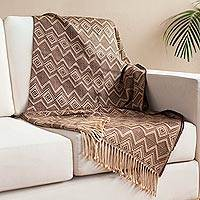 Alpaca blend throw, 'Earth Dimension' - Brown Geometric Alpaca Blend Throw from Peru
