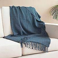 Alpaca blend throw, 'Hypnotic Combination' - Patterned Alpaca Blend Throw in Blue from Peru