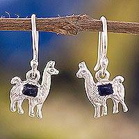 Lapis lazuli dangle earrings, 'Andean Llama' - Lapis Lazuli Llama Dangle Earrings from Peru