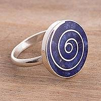 Sodalite cocktail ring, 'Ocean Enigma' - Swirl Motif Sodalite Cocktail Ring from Peru