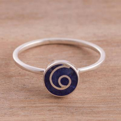 Sodalite cocktail ring, 'Swirl Chic' - Natural Sodalite Swirl Cocktail Ring from Peru