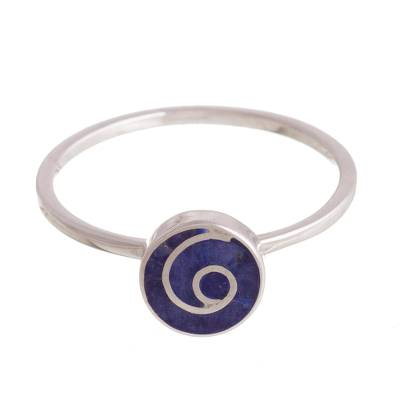Natural Sodalite Swirl Cocktail Ring from Peru