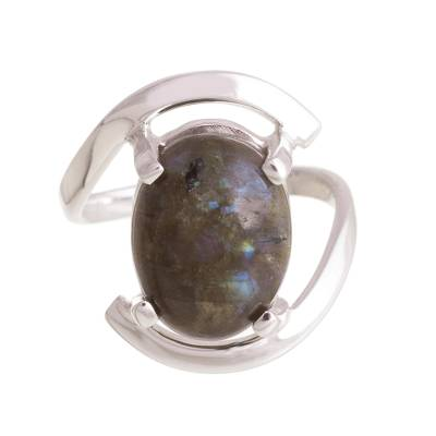 Labradorite cocktail ring, 'Aurora Oval' - Oval Labradorite Cocktail Ring Crafted in Peru