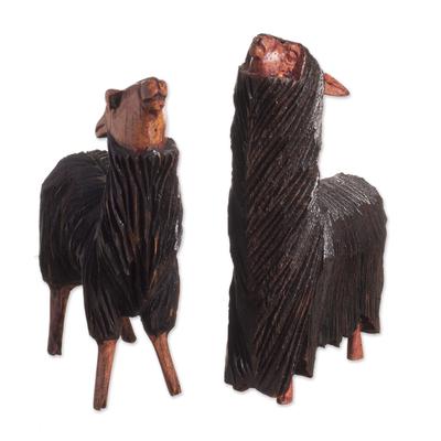 Wood figurines, 'Faces Upturned' (pair) - Cedar Wood Llama and Suri Alpaca Figurines from Peru (Pair)