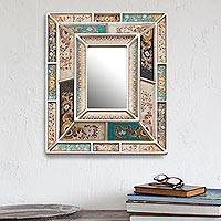 Reverse-painted wall mirror, 'Fantastic Floral' - Silver-Tone Reverse-Painted Glass Wall Mirror from Peru