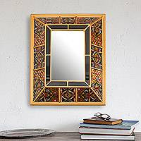 Reverse-painted wall mirror, 'Colonial Glam' - Gold-Tone Reverse-Painted Glass Wall Mirror from Peru