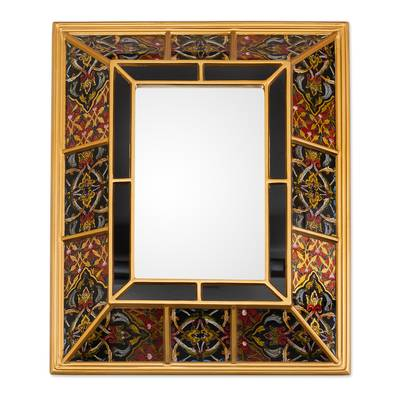 Gold-Tone Reverse-Painted Glass Wall Mirror from Peru