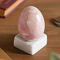 Rhodonite gemstone figurine, 'Cute Egg' - Egg-Shaped Rhodonite Gemstone Figurine from Peru