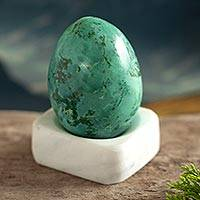 Chrycocolla gemstone figurine, 'Cute Egg' - Egg-Shaped Chrysocolla Gemstone Figurine from Peru