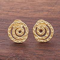 Gold plated sterling silver button earrings, 'Andean Cosmos'