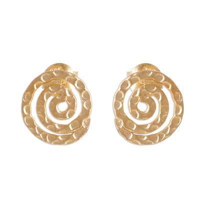 Gold plated sterling silver button earrings, 'Andean Cosmos' - Handmade Gold Plated Sterling Silver Button Earrings