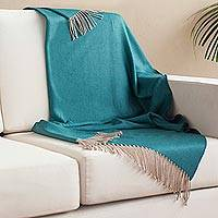 Alpaca blend throw, 'Warm Comfort in Teal' - Alpaca Blend Throw Blanket in Solid Teal from Peru