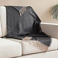 Alpaca blend throw, 'Warm Comfort in Onyx' - Alpaca Blend Throw Blanket in Solid Onyx from Peru