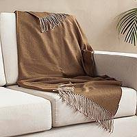 Alpaca blend throw, 'Warm Comfort in Sepia' - Alpaca Blend Throw Blanket in Solid Sepia from Peru