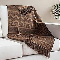 Alpaca blend throw, 'Nazca Comfort' - Geometric Pattern Alpaca Blend Throw in Brown from Peru