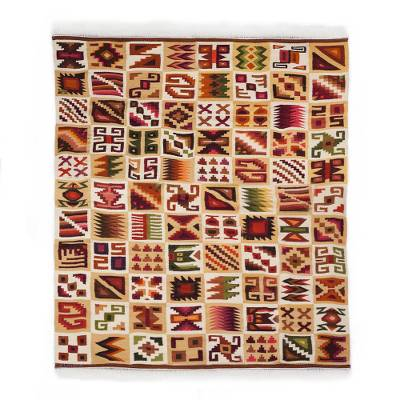 Wool area rug, 'Ancient Calendar' (5.5x7.5) - Handwoven Geometric Wool Area Rug from Peru (5.5x7.5)
