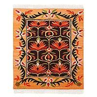 Wool area rug, 'Nature of the Andes' (4x5) - Nature-Inspired Wool Area Rug from Peru (4x5)