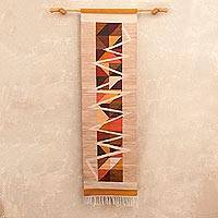 Wool tapestry, 'Inca Figures' - Abstract Geometric Wool Tapestry from Peru