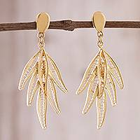 Gold plated sterling silver filigree dangle earrings, 'Autumn Glam'