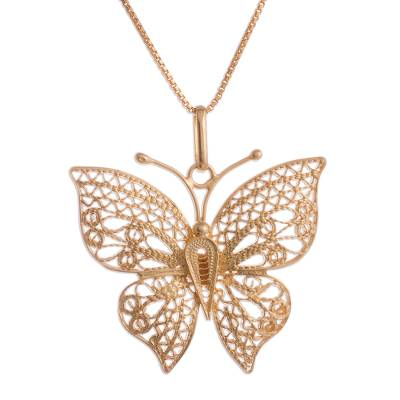 Gold plated sterling silver filigree pendant necklace, 'Majestic Flight' - Gold Plated Sterling Silver Filigree Butterfly Necklace