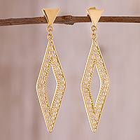 Gold plated sterling silver filigree dangle earrings, 'Diamond Tradition'