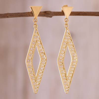 Gold plated sterling silver filigree dangle earrings, 'Diamond Tradition' - Diamond-Shaped Gold Plated Sterling Silver Filigree Earrings
