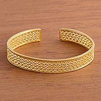 Gold plated sterling silver filigree cuff bracelet, 'Shining Elegance'