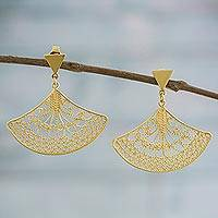 Gold plated sterling silver filigree dangle earrings, 'Andean Fans' - Fan-Shaped Gold Plated Sterling Silver Filigree Earrings