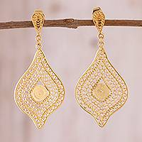 Gold plated sterling silver filigree dangle earrings, 'Hypnotic Gold'