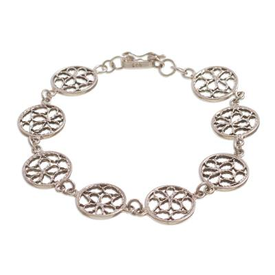 Circular Sterling Silver Filigree Link Bracelet from Peru