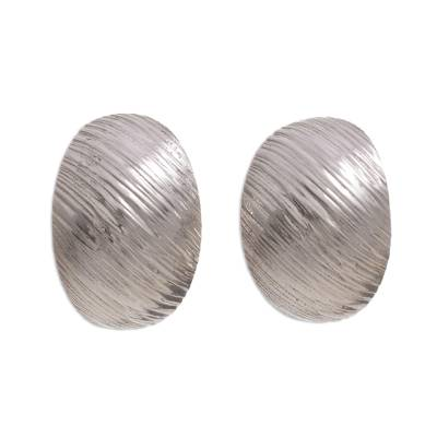 Modern Sterling Silver Button Earrings Crafted in Peru