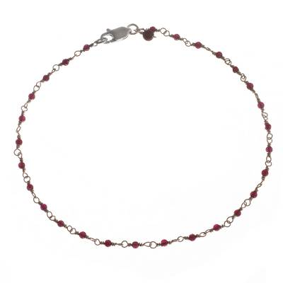 Garnet and Silver Link Anklet Crafted in Peru