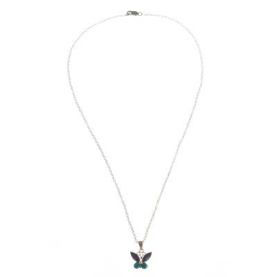 Sodalite and Chrysocolla Butterfly Pendant Necklace