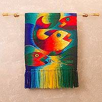 Alpaca blend tapestry, 'Magic of the Ocean' - Handwoven Fish-Themed Alpaca Blend Tapestry from Peru