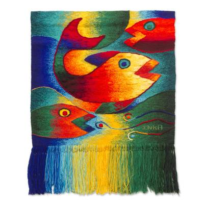 Handwoven Fish-Themed Alpaca Blend Tapestry from Peru