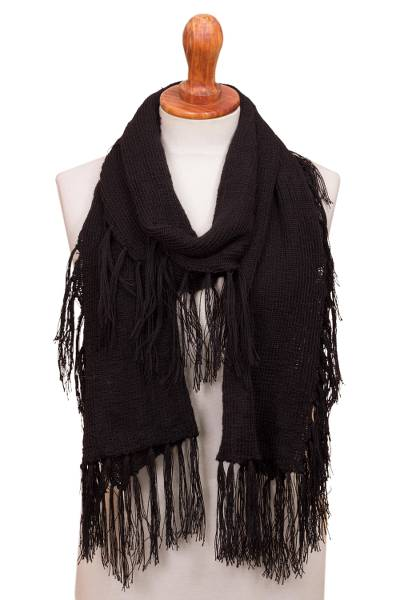 Crocheted 100% Baby Alpca Scarf in Black from Peru