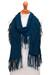 100% baby alpaca scarf, 'Fringed Style in Azure' - Fringed 100% Baby Alpaca Scarf in Azure from Peru (image 2a) thumbail