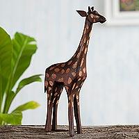 Wood sculpture, 'Charming Giraffe' - Hand-Carved Cedar Wood Giraffe Sculpture from Peru
