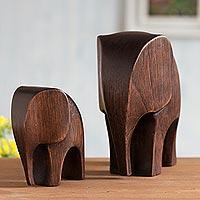 Wood figurines, 'Dark Brown Elephants' (pair)