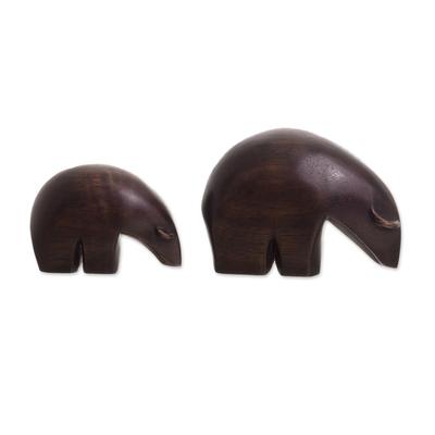 Cedar Wood Mother Bear Figurines from Peru (Pair)