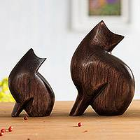 Wood figurines, 'Mother Cat' (pair)