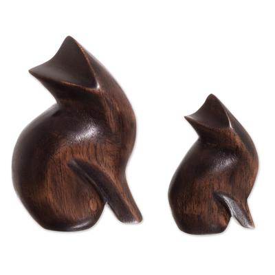 Cedar Wood Cat Figurines from Peru (Pair)