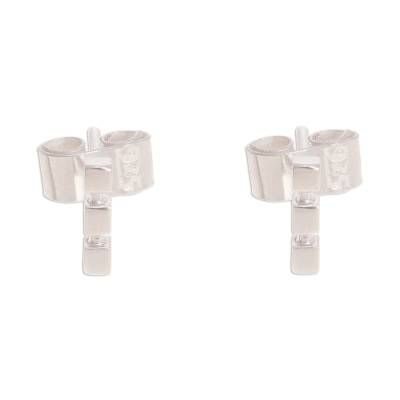 Square Pattern Sterling Silver Stud Earrings from Peru