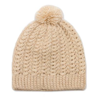 Hand-Crocheted Alpaca Blend Hat with a Pompom from Peru